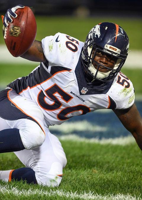 Zaire Anderson scored the second Broncos touchdown Thursday. (Denver Broncos photo by Eric Bakke)