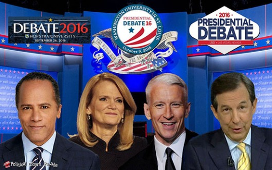 Moderators for the 2016 debates are Lester Holt, Elaine Quijano, Anderson Cooper, and Chris Wallace.