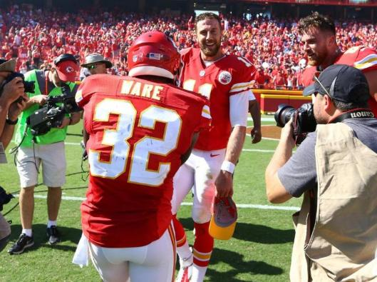 Alex Smith enjoys the attention after his touchdown won the game for the Chiefs in overtime Sunday. (Kansas City Chiefs photo)
