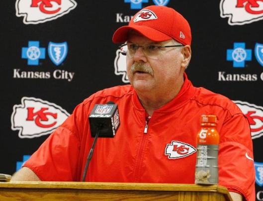 Coach Andy Reid addresses the post-game press conference Sunday. (Kansas City Chiefs photo)