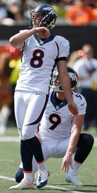 Kicker Brandon McManus scored the Broncos' first points with a field goal Sunday. (Denver Broncos photo by Eric Bakke)