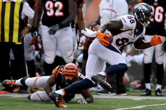 Wide receiver Demaryius Thomas scored the final Broncos touchdown Sunday. (Denver Broncos photo by Eric Bakke)