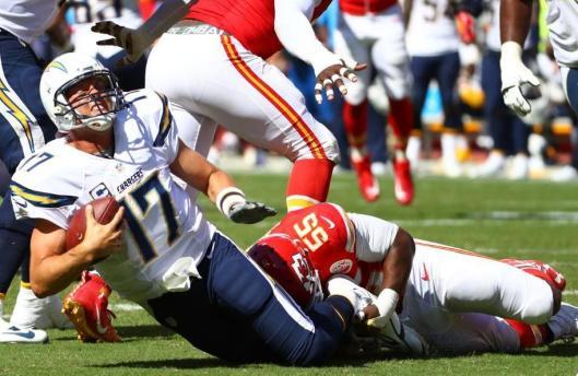 Linebacker Dee Ford sacks Chargers quarterback Philip Rivers. (Kansas City Chiefs photo)