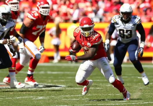 Running back Spencer Ware led the Kansas City Chiefs in both rushing and receptions with 199 total yards in the game against the San Diego Chargers Sunday. Of those 141 yards came in the second half and overtime. (Kansas City Chiefs photo)