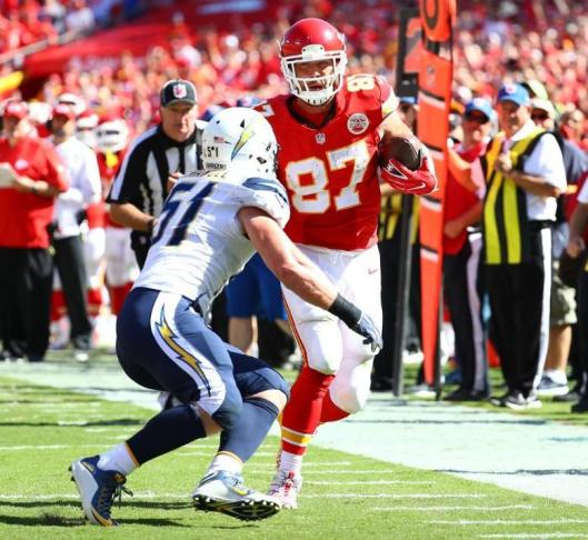 Tight end Travis Kelce was among those advancing the Chiefs toward the goal line in overtime Sunday. (Kansas City Chiefs photo)