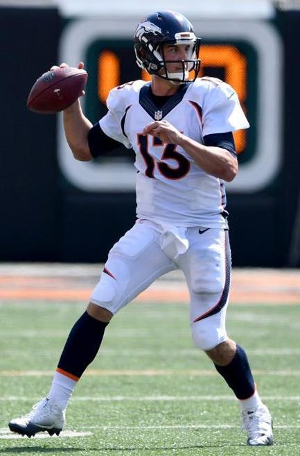 Bronco quarterback Trevor Siemian threw four touchdown passes in the game against the Cincinnati Bengals Sunday. (Denver Broncos photo by Eric Bakke)