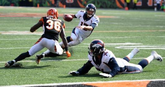 Quarterback Trevor Siemian runs with the ball. (Denver Broncos photo by Eric Bakke)
