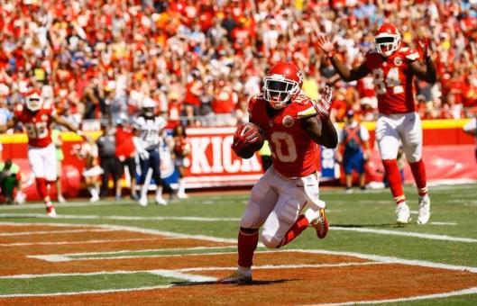 Rookie wide receiver Tyreek Hill scored the Chiefs' first touchdown near the end of the third quarter. (Kansas City Chiefs photo)