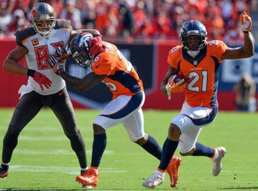 Cornerback Aqib Talib, a former Tampa Bay Buccaneer, had two interceptions against the Bucs Sunday, resulting in two touchdowns. He was given the game ball after the game. (Denver Broncos photo by Eric Bakke)
