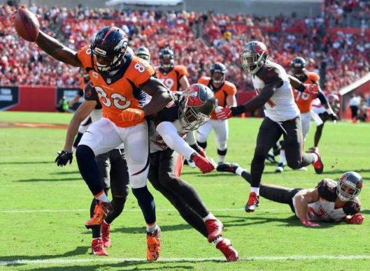Demaryius Thomas scored the first Broncos touchdown Sunday. He had ten receptions for 88 yards. (Denver Broncos photo by Eric Bakke)