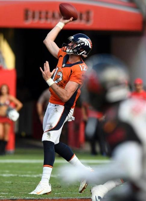 Rookie quarterback Paxton Lynch took over after Trevor Siemian was injured in the the game against the Buccaneers Sunday. Lynch scored his first NFL touchdown in the fourth quarter. (Denver Broncos photo by by Eric Bakke)