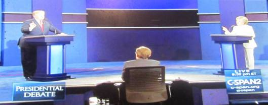 Donald Trump and Hillary Clinton face off Wednesday night. (Hill 'n Holler photo from C-SPAN live stream)