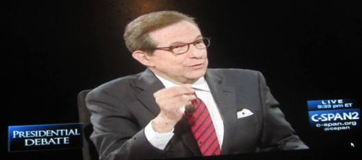 Moderator Chris Wallace, host of Fox News Sunday. (Hill 'n Holler photo from C-SPAN live stream)