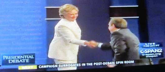 Hillary Clinton shakes Chris Wallace's hand after the debate. (Hill 'n Holler photo from C-SPAN live stream)