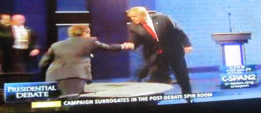 Donald Trump shakes Chris Wallace's hand after the debate. (Hill 'n Holler photo from C-SPAN live stream)