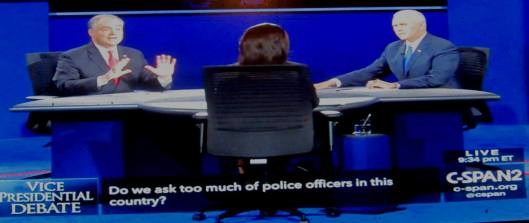 The debate scene Tuesday night. (Hill 'n Holler photo from C-SPAN live stream)
