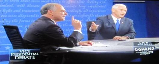 Tim Kaine and Mike Pence square off during the debate. (Hill 'n Holler photo from C-SPAN live stream)