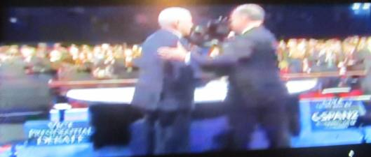 The vice presidential candidates shake hands after the debate. (Hill 'n Holler photo from C-SPAN live stream)