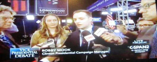 Robby Mook, Clinton presidential campaign manager, talks to reporters after the debate. (Hill 'n Holler photo from C-SPAN live stream)