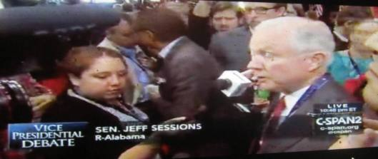U.S. Sen. Jeff Sessions (R-Alabama), regarded by many as Donald Trump's closest ally in the Senate, speaks to reporters after the debate. (Hill 'n Holler photo from C-SPAN live stream)