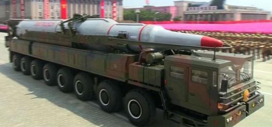 Prototype of North Korean ballistic missile.  (VOA photo)