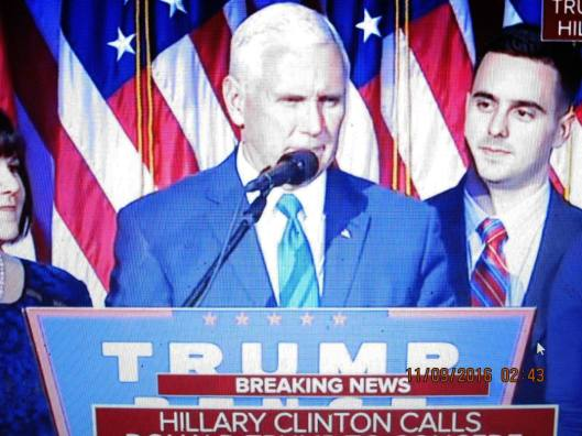 Vice President-elect Mike Pence introduced Donald Trump before the president-elect gave his victory speech early Wednesday morning. (Hill 'n Holler photo from cbsnews.com live stream)