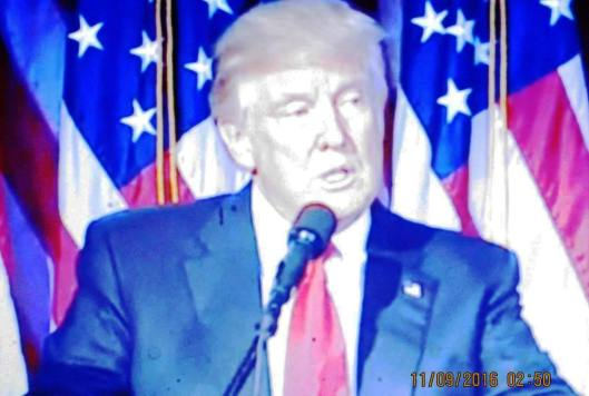 President-elect Donald Trump delivers his victory speech early Wednesday morning in New York City. (Hill 'n Holler photo from cbsnews.com live stream)
