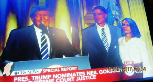 President Donald Trump introduces Neil Gorsuch and his wife, Marie Louise. (Hill 'n Holler photo from CBS News live stream)