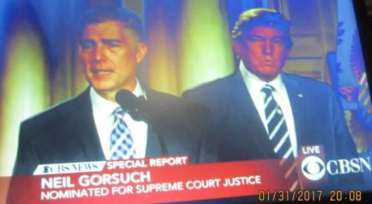 Neil Gorsuch Tuesday was named by President Trump as nominee to fill the vacancy on the U.S. Supreme Court.  (Hill 'n Holler photo from CBS News live stream)