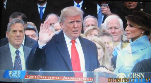 Donald J. Trump is sworn in as President.  (Hill 'n Holler photo from CBS News live stream)