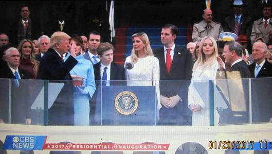 Donald Trump is sworn in as President. (Hill 'n Holler photo from CBS News live stream)