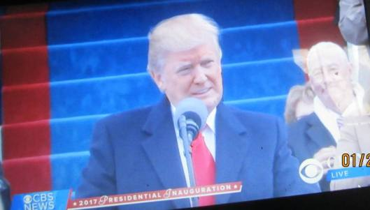 President Donald Trump delivers his inaugural address. (Hill 'n Holler photo from CBS News live stream)