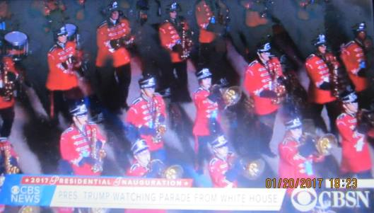 The high school band from Russellville, Ark., was among groups participating in the inauguration parade Thursday afternoon.  (Hill 'n Holler photo from CBS News live stream)